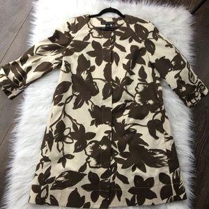 White Brown Snap Button Floral Raincoat Jacket